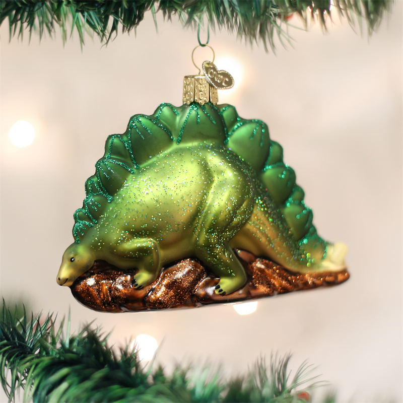 Old Word Christmas Stegosaurus Glass Ornament, OWC-Old World Christmas, Putti Fine Furnishings