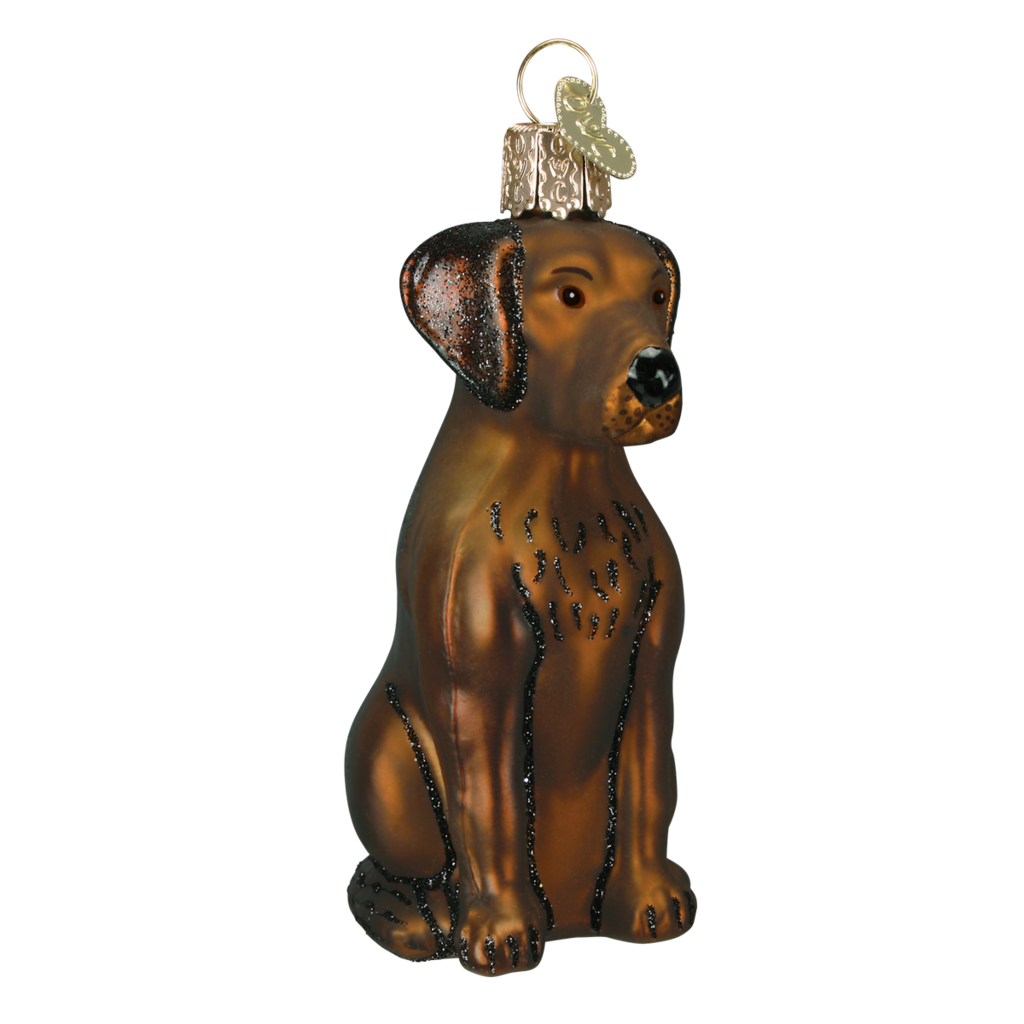 Old World Chocolate Labrador Glass Ornament