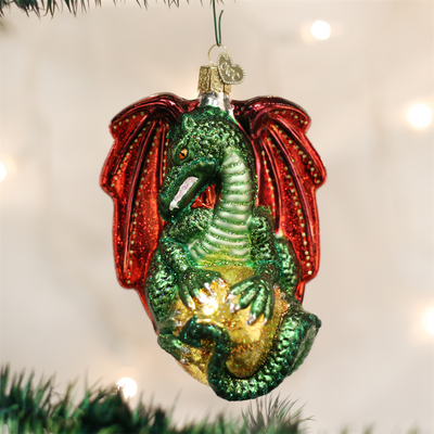 Old Word Christmas Medieval Dragon Glass Ornament, OWC-Old World Christmas, Putti Fine Furnishings