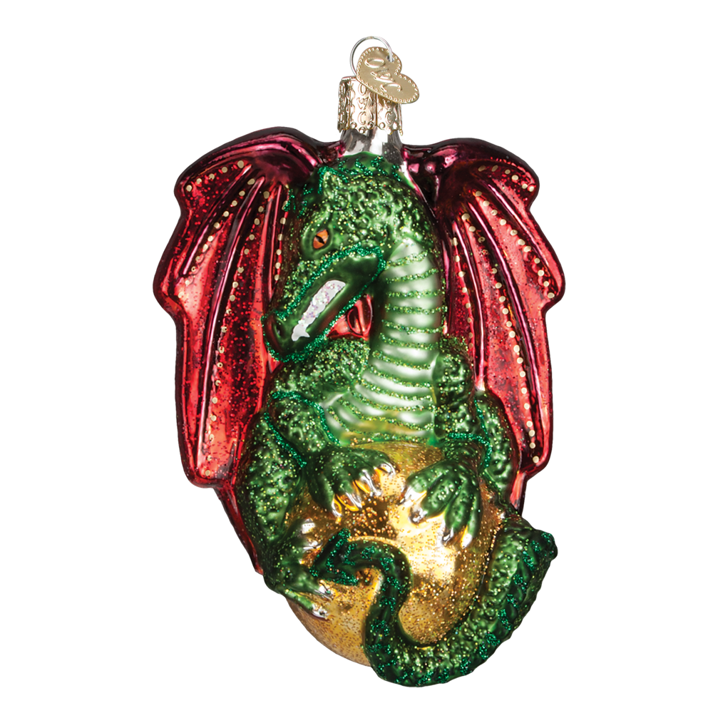Old Word Christmas Medieval Dragon Glass Ornament