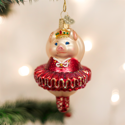 Old Word Christmas Ballerina Pig Glass Ornament-Christmas-OWC-Old World Christmas-Putti Fine Furnishings