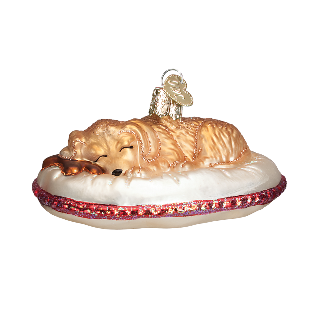 Old World Christmas Tired Dog Glass Ornament -  Christmas Decorations - Old World Christmas - Putti Fine Furnishings Toronto Canada - 1
