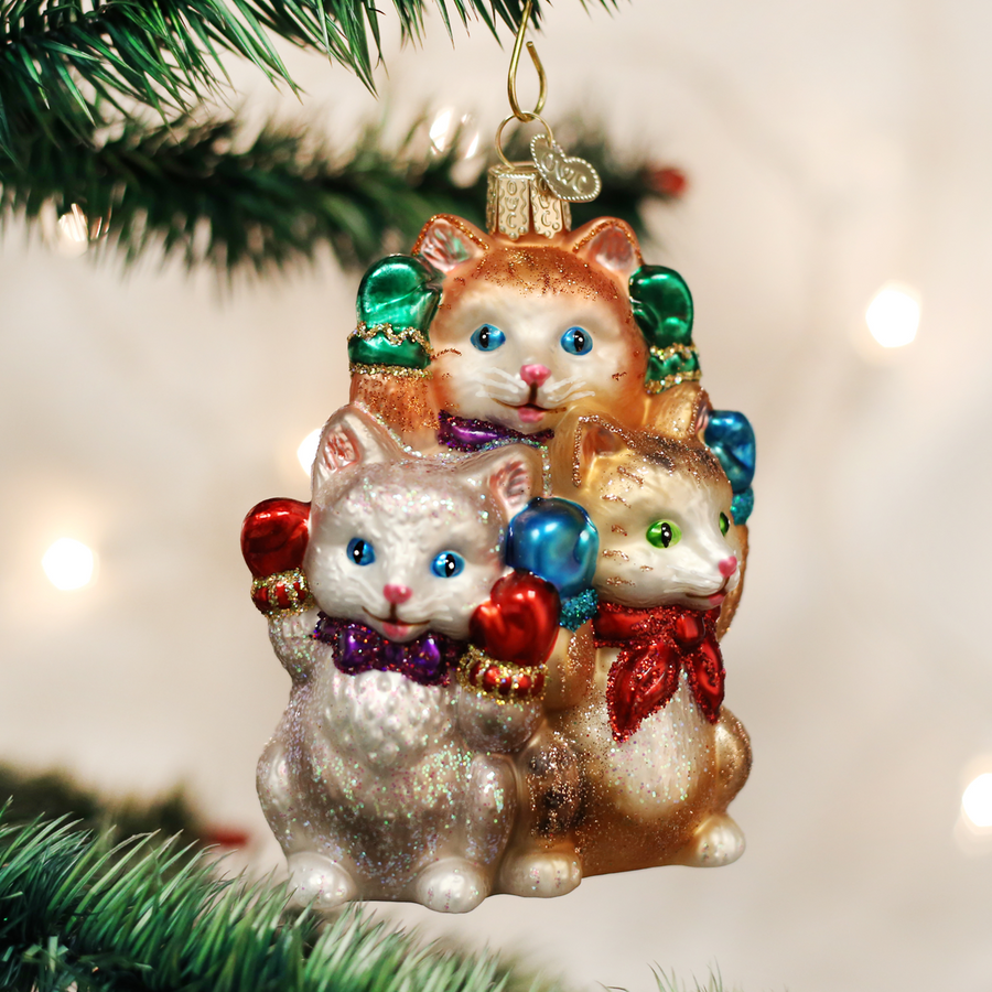 Old World Christmas Three Little Kittens Glass Christmas Ornament