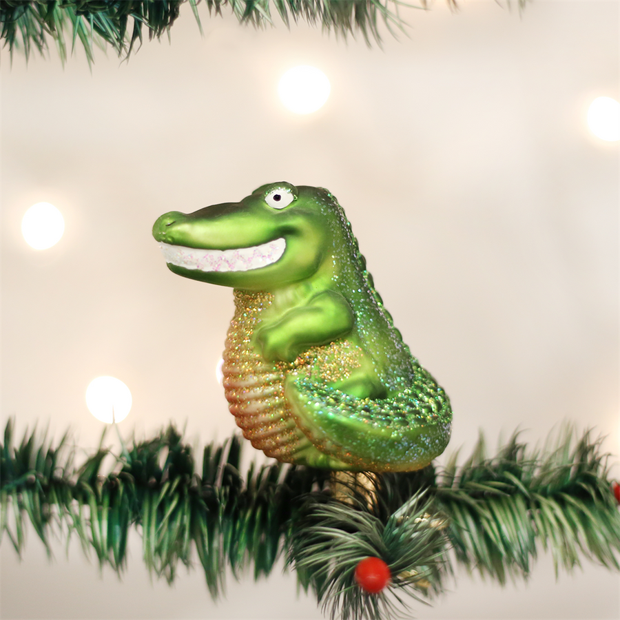 Old Word Christmas Clip on Happy Gator Glass Ornament
