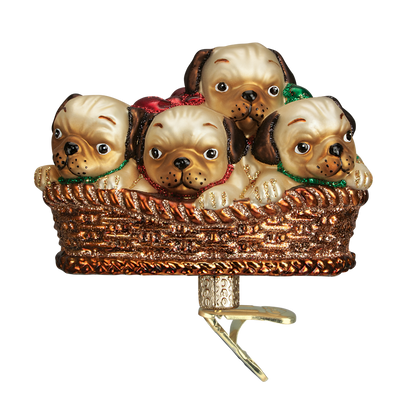 Old World Christmas Pile of Puggles Glass Pug Christmas Ornament, OWC-Old World Christmas, Putti Fine Furnishings