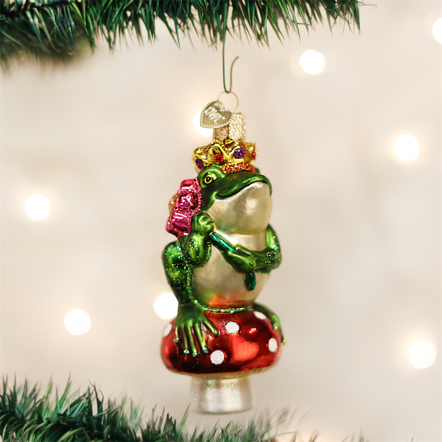 Old Word Christmas Frog Prince Glass Ornament