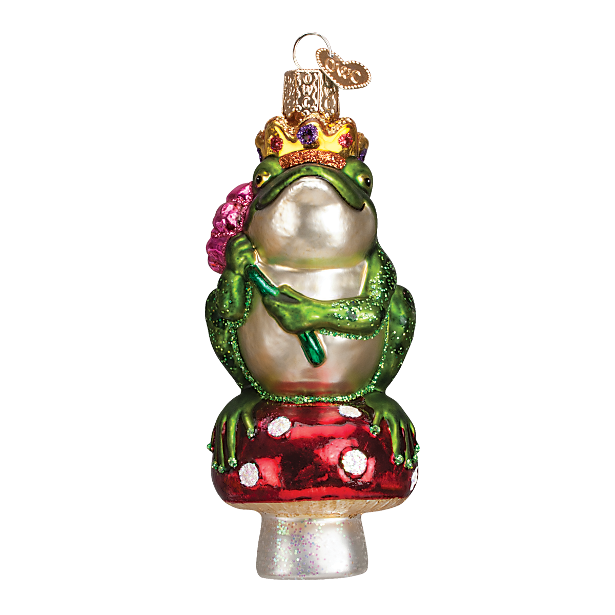 Old Word Christmas Frog Prince Glass Ornament, OWC-Old World Christmas, Putti Fine Furnishings