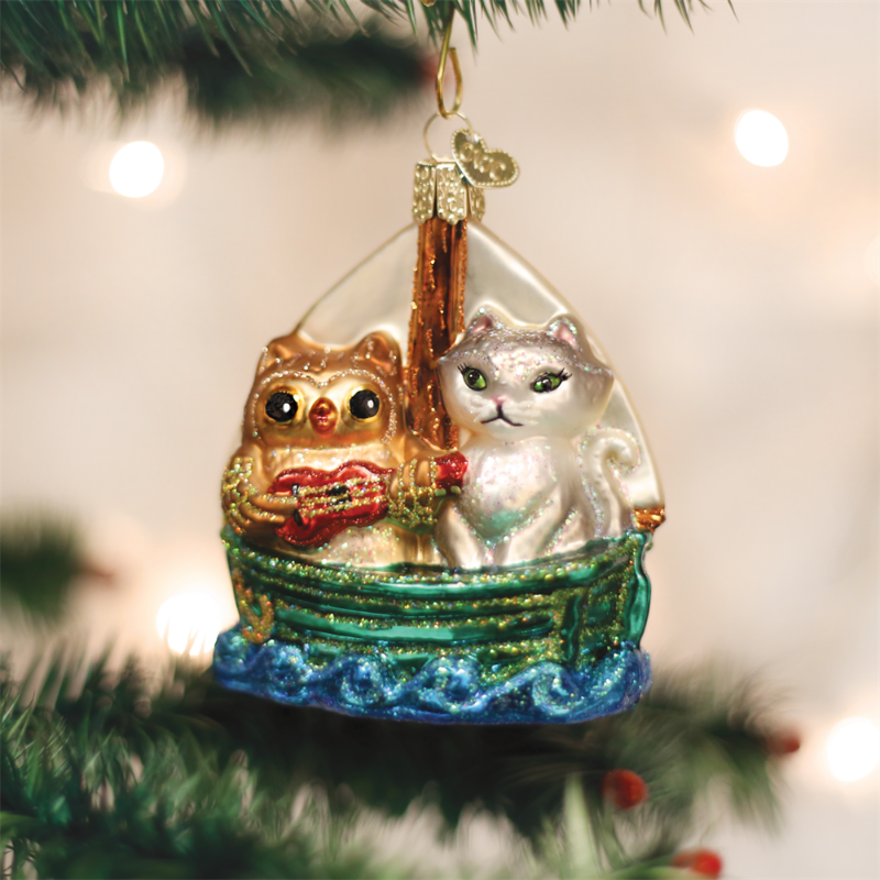 Old Word Owl and Pussycat Glass Ornament, OWC-Old World Christmas, Putti Fine Furnishings