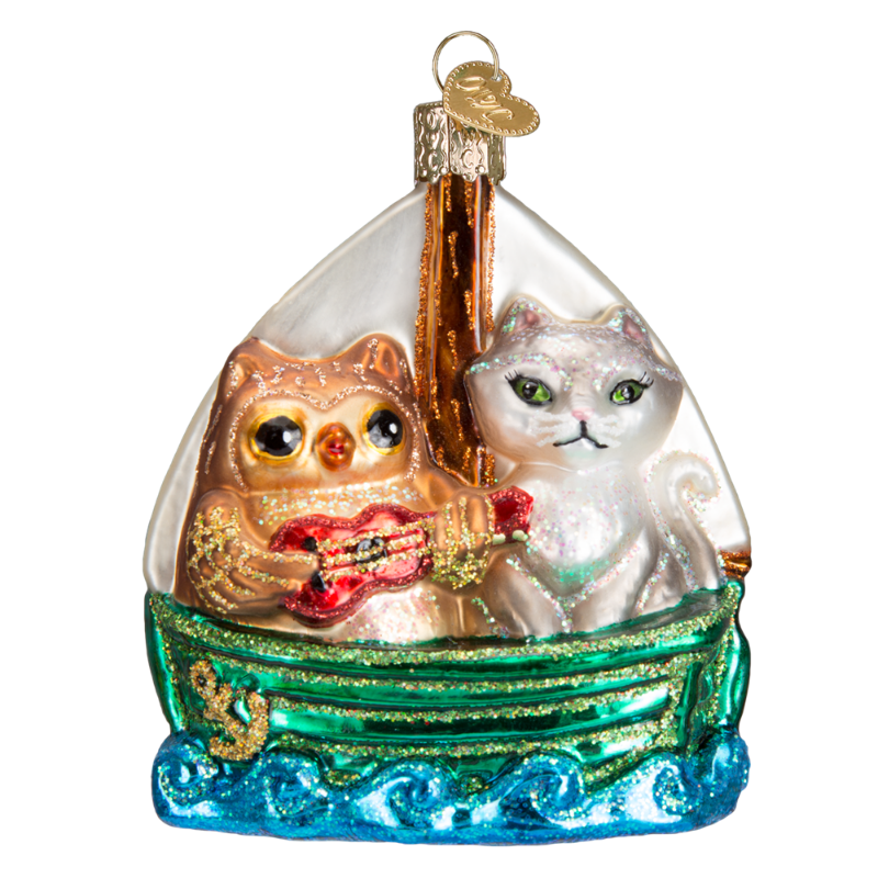 Old Word Christmas Owl and Pussycat Glass Ornament