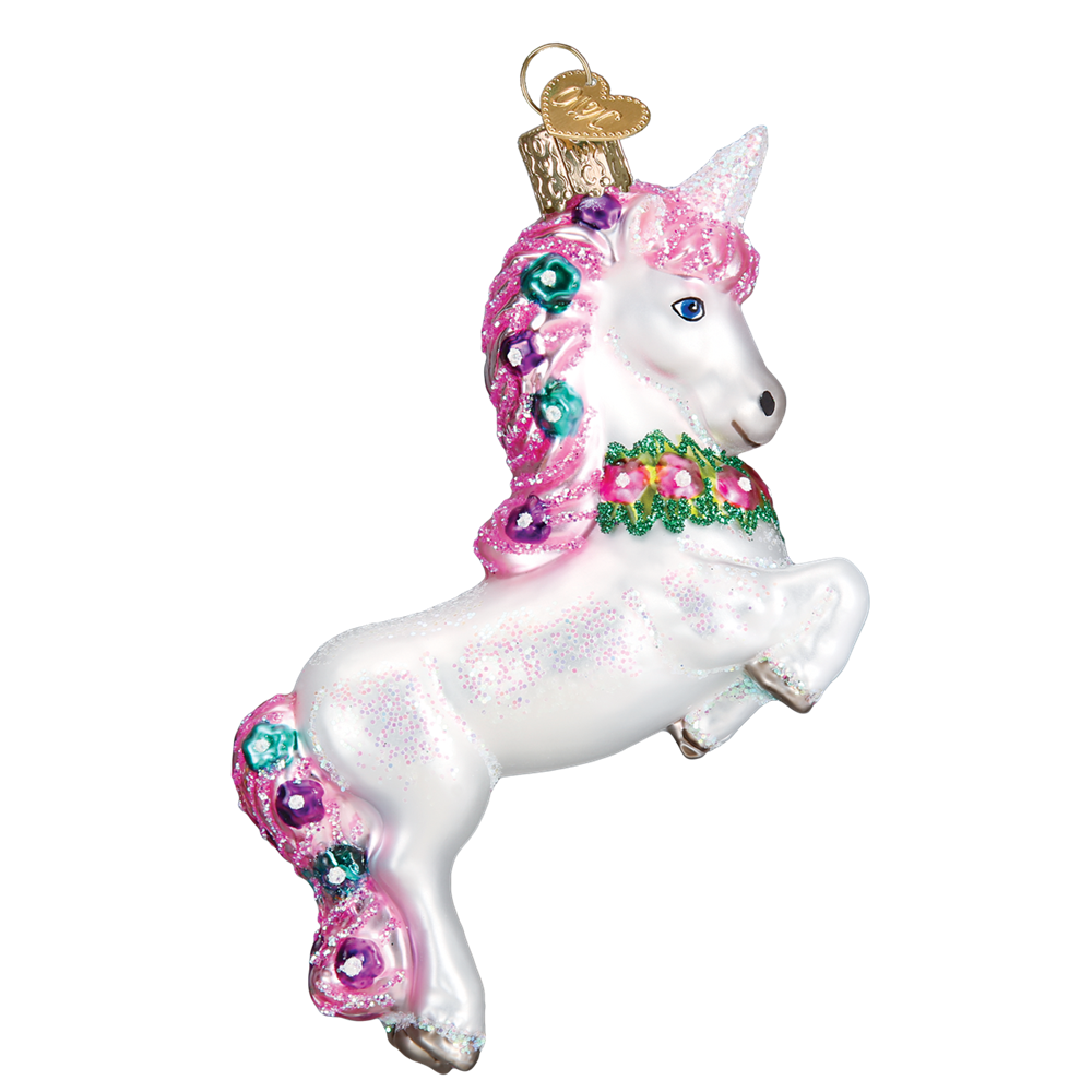 Old Word Christmas Prancing Unicorn Glass Ornament -  Christmas Decorations - Old World Christmas - Putti Fine Furnishings Toronto Canada - 1