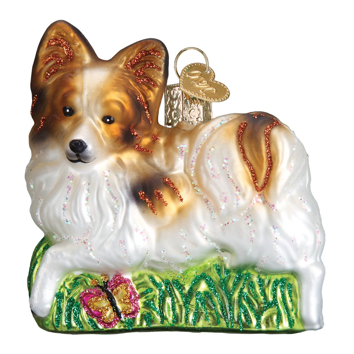 Old Word Christmas Playful Papillon Ornament