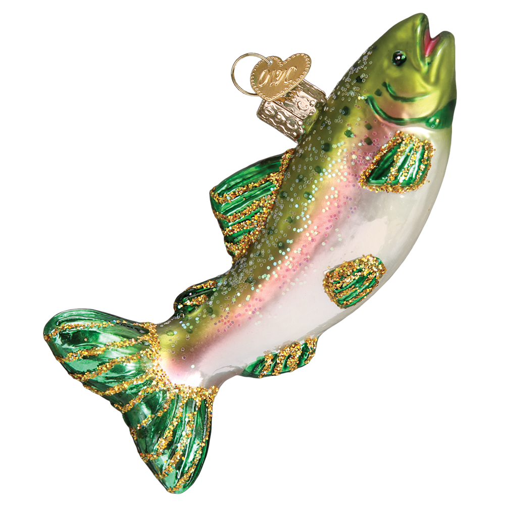Old World Christmas Alpine Rainbow Trout Glass Ornament, OWC-Old World Christmas, Putti Fine Furnishings