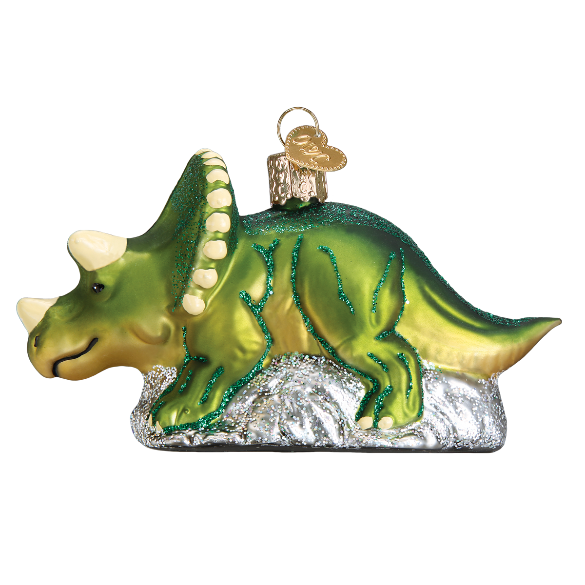 Old World Christmas Triceratops Christmas Ornament, OWC-Old World Christmas, Putti Fine Furnishings