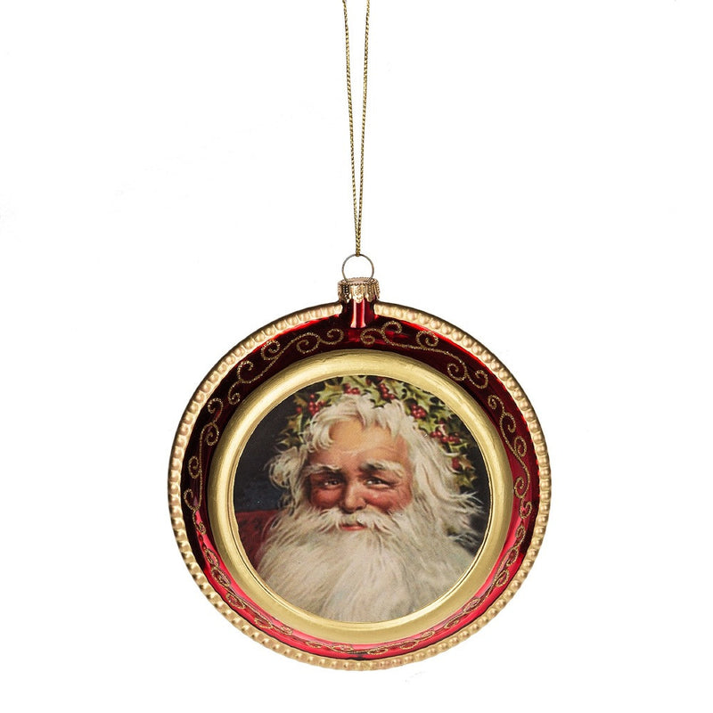 Vintage Santa Disk Ornament -  Christmas - Midwest - Putti Fine Furnishings Toronto Canada