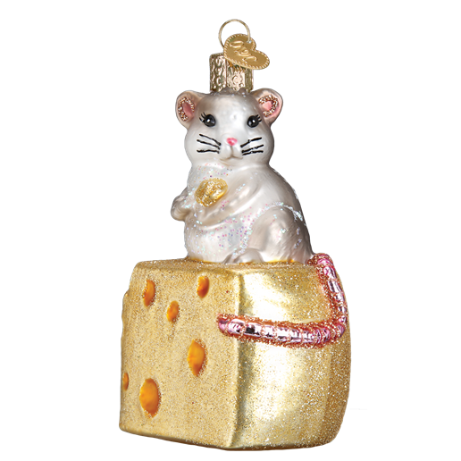 Old Word Christmas Hungry Mouse Glass Ornament