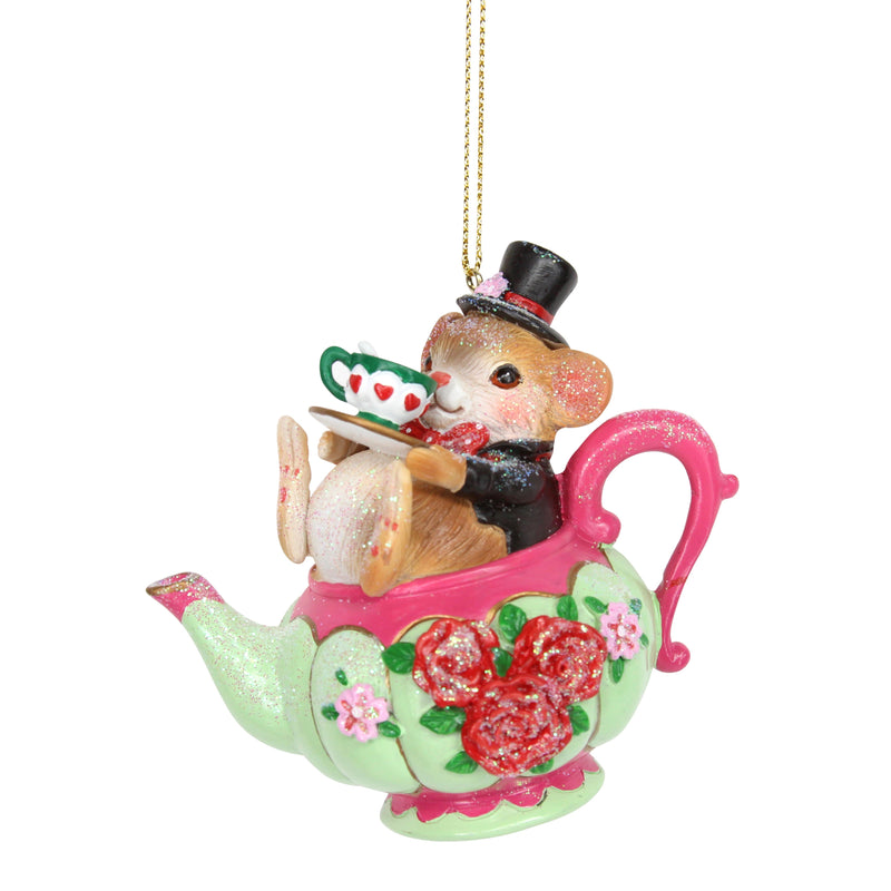 Door Mouse in Tea Cup Hanging Ornament | Putti Christmas Canada