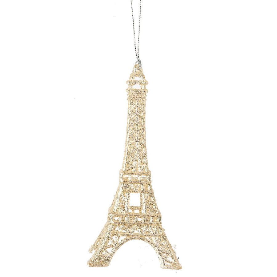 Glittered Eiffel Tower Ornament - Pale Gold