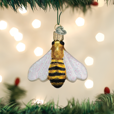 Old Word Christmas Honey Bee Glass Ornament - Putti Canada