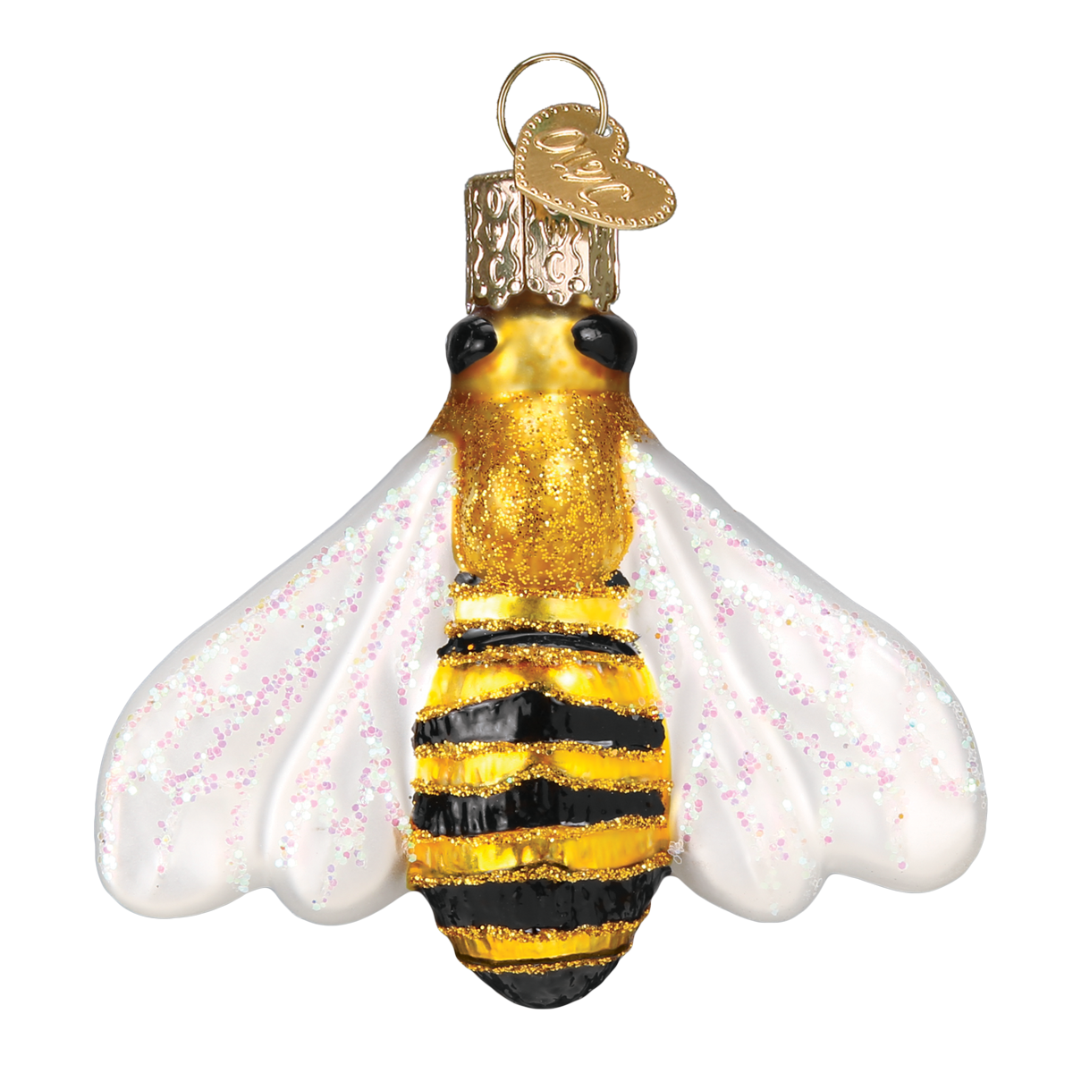 Old Word Christmas Honey Bee Glass Ornament