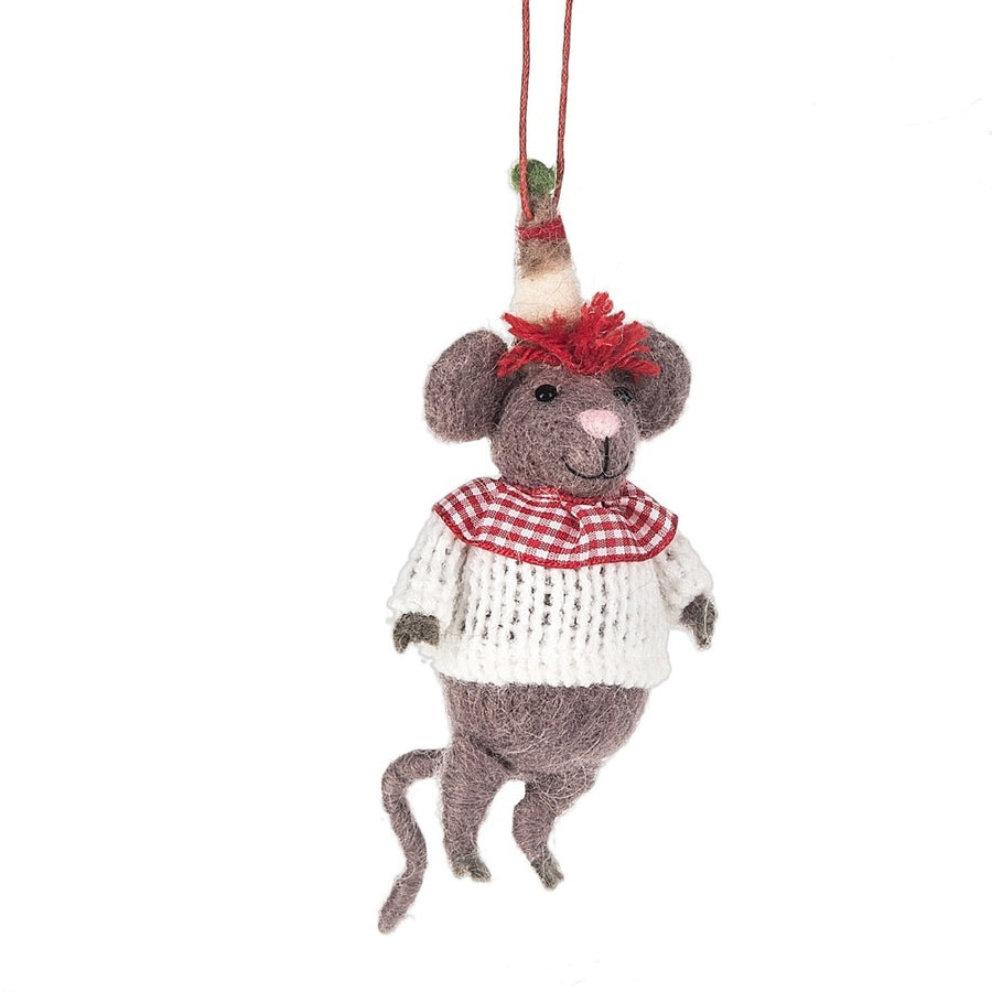 Felt Mouse in Red and White Sweater Ornament