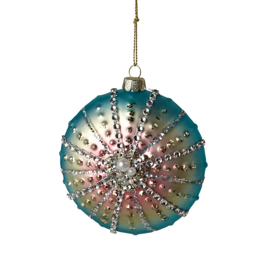 Blue Pink Urchin Shell Ornament