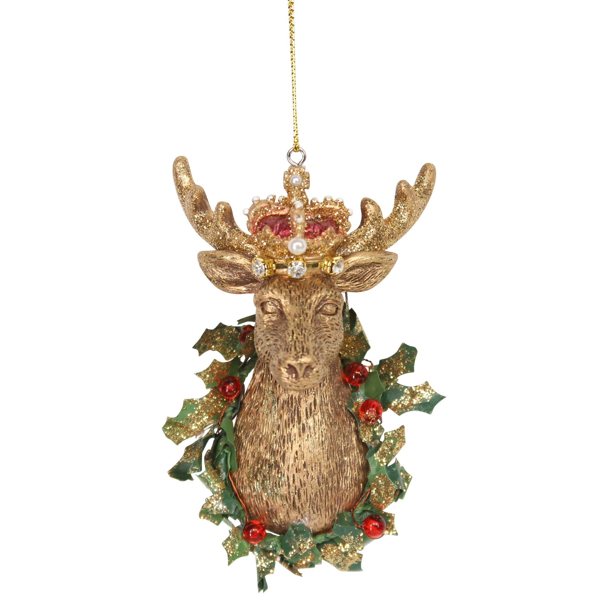 Gisela Graham Gold Stag Head with Crown Ornament | Putti Christmas Canada