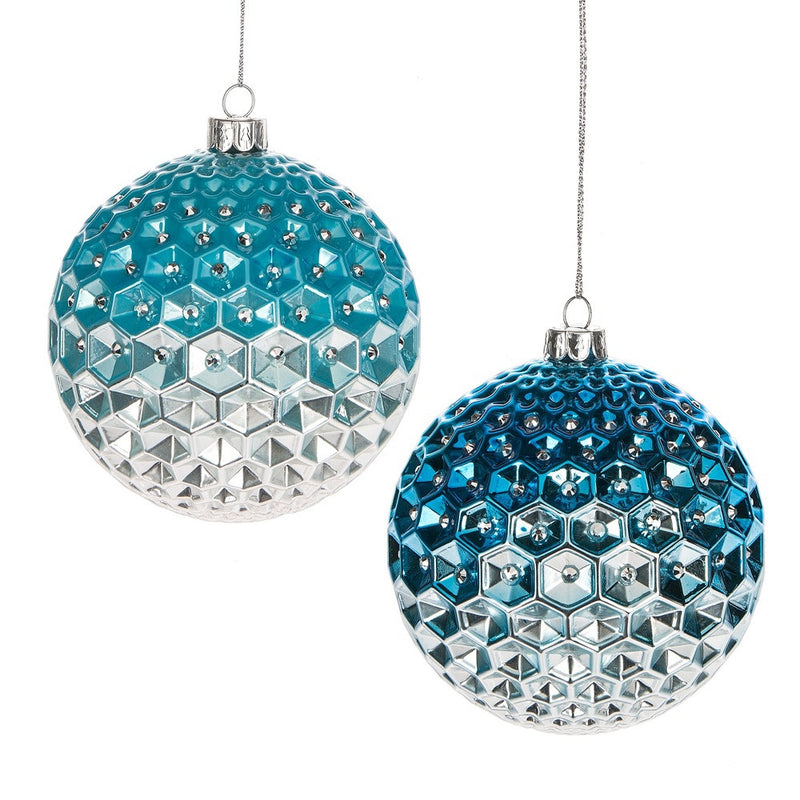 Ombre Diamond Ball Glass Ornament - Aqua, MW-Midwest / CBK, Putti Fine Furnishings