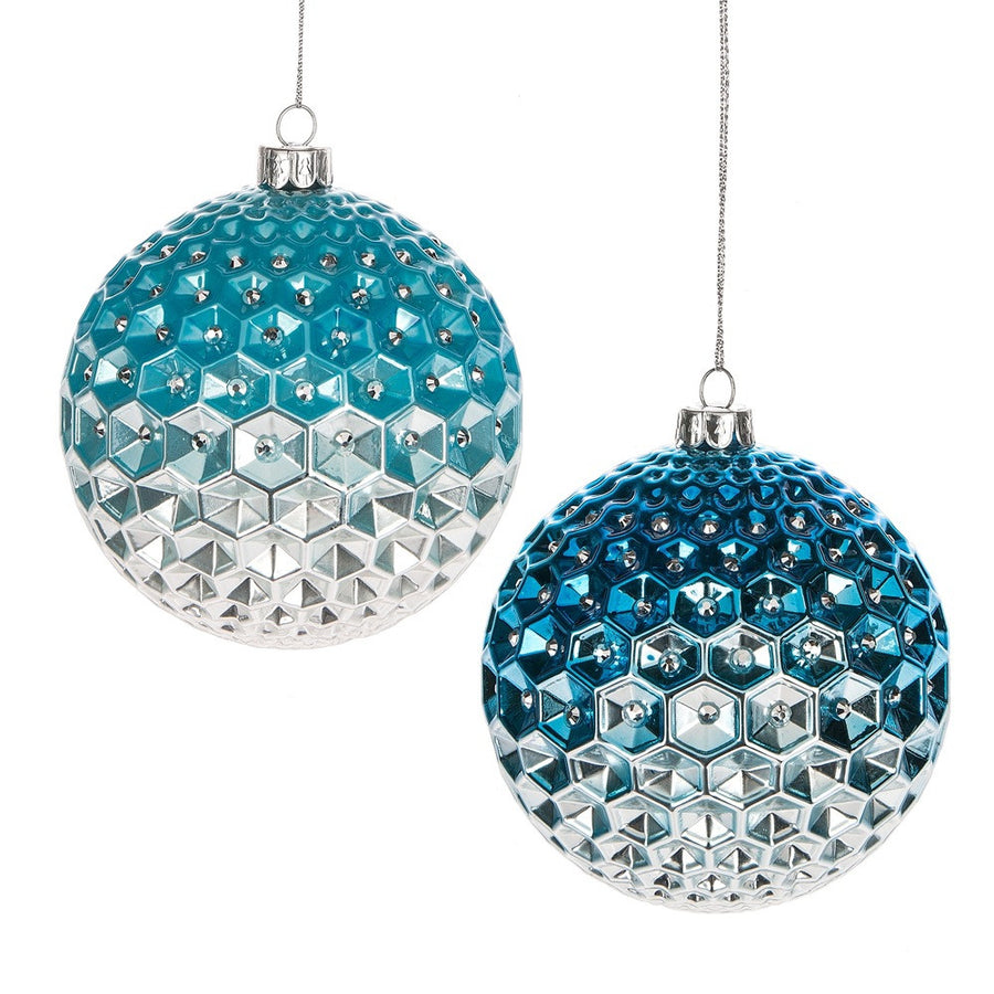 Ombre Diamond Ball Glass Ornament - Aqua