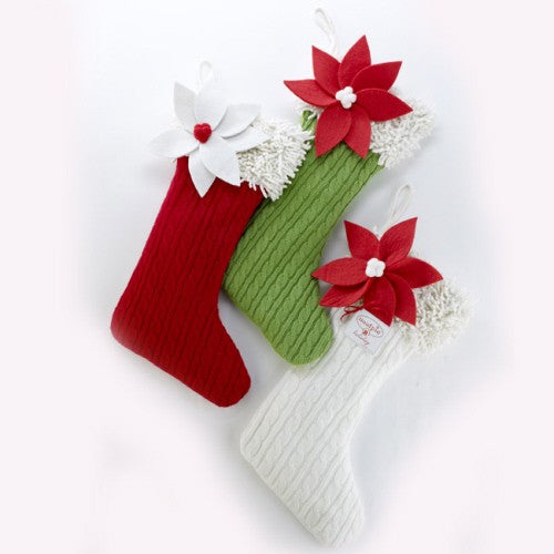 Cable Knit Stocking with Poinsettia