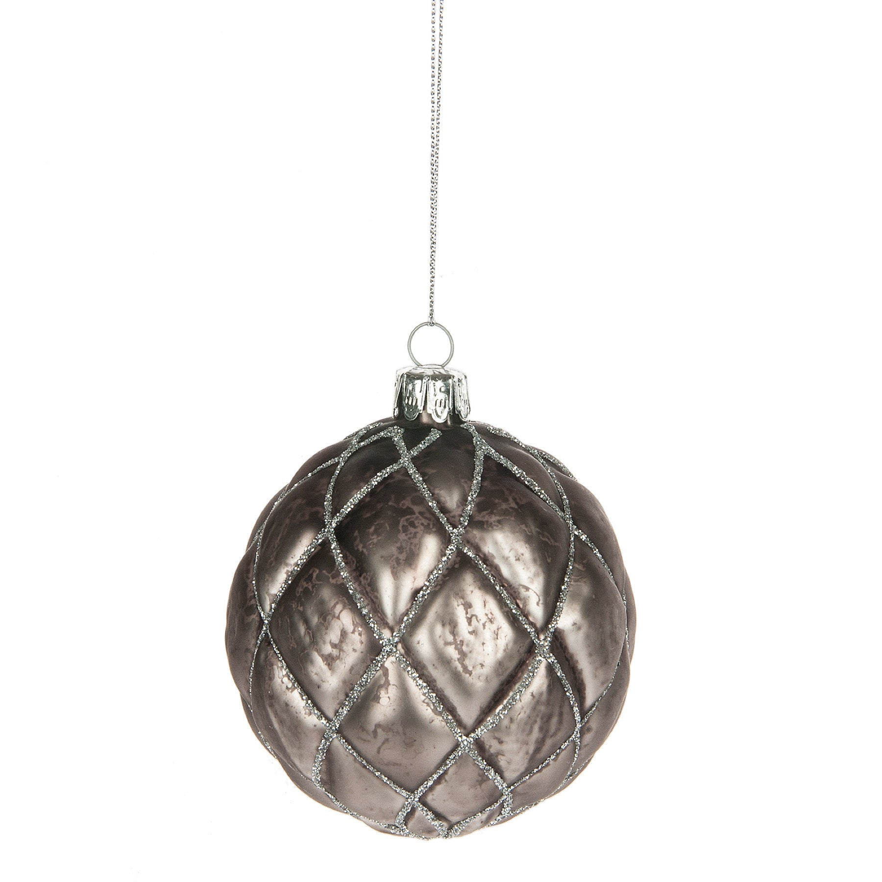 Charcoal Grey Faceted Ball Ornament, MW-Midwest / CBK, Putti Fine Furnishings
