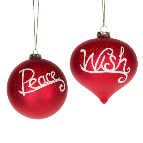 """Peace"" and ""Wish"" Ornaments -  Christmas - Midwest / CBK - Putti Fine Furnishings Toronto Canada"