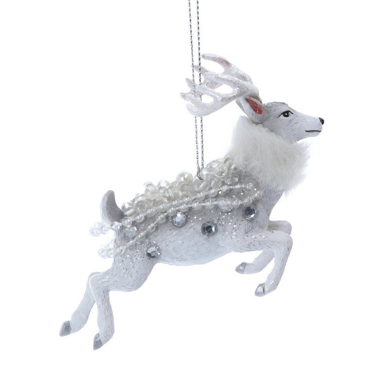 White Resin Reindeer with Pearls Ornament | Putti Christmas Canada