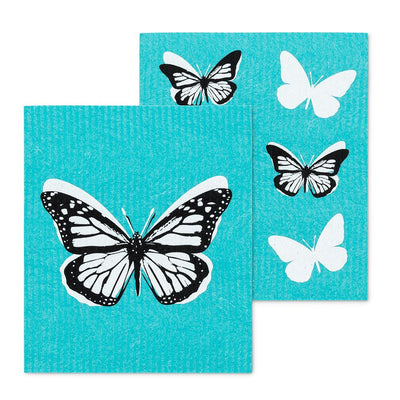 Butterfly Aqua Swedish Dish Cloths - Set of 2  | Putti Fine Furnishings
