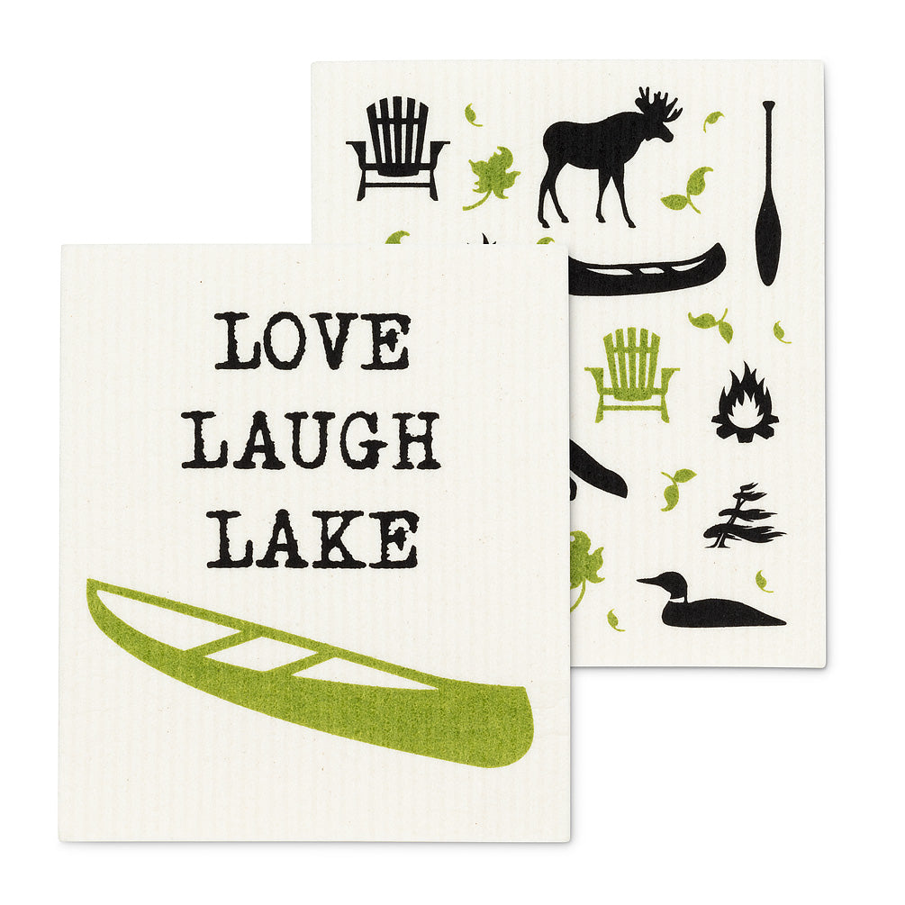 Love Laugh Lake Swedish Dish Cloth - set of 2 | Putti Fine Furnishings Canada