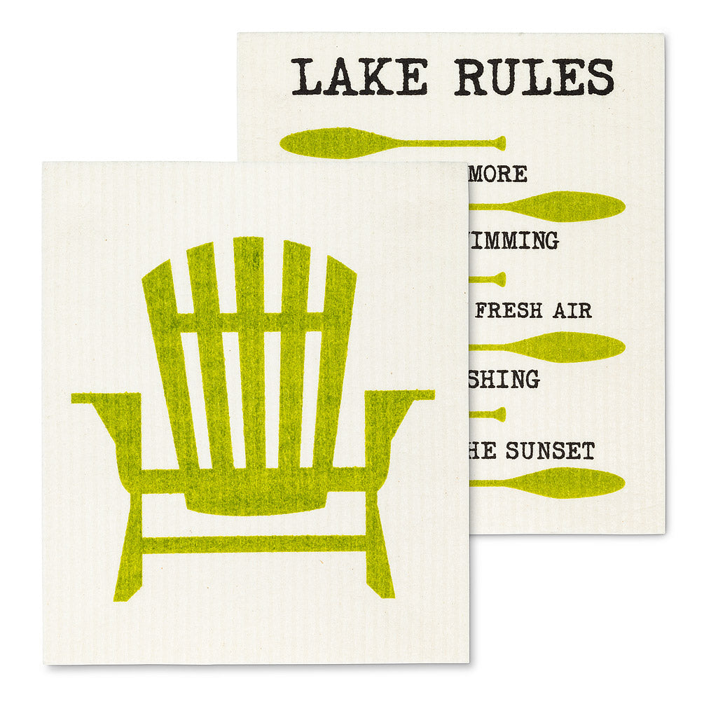 Cottage Rules Swedish Dish Cloth - set of 2 | Putti Fine Furnishings Canada