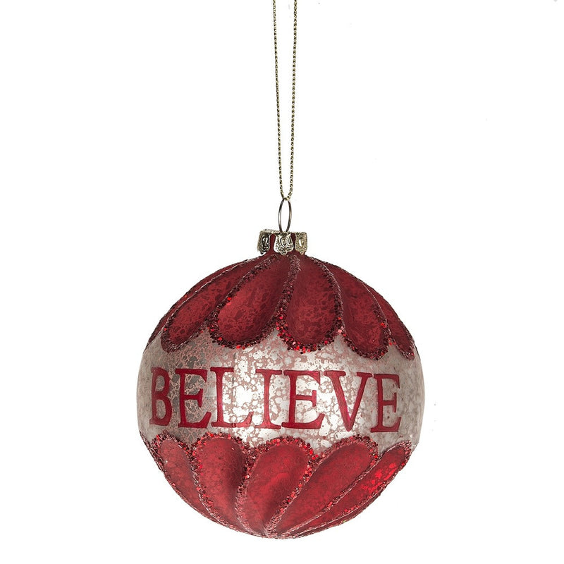 "Red ""Believe"" Glass Ornament"