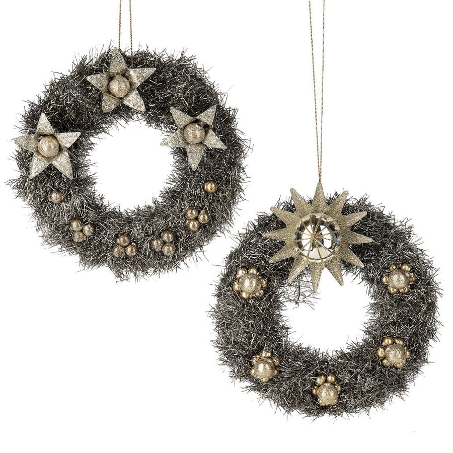 Vintage Silver Tinsel Wreath Ornament