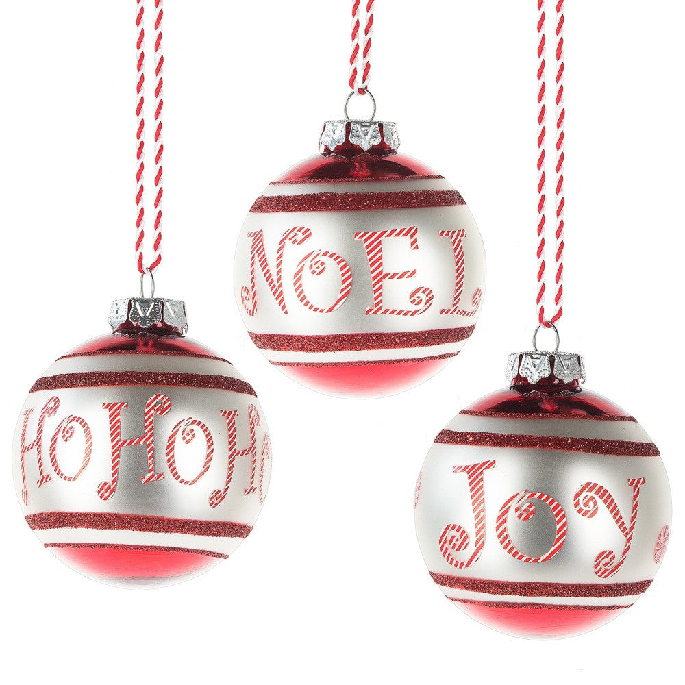 Christmas Text Glass Ornaments