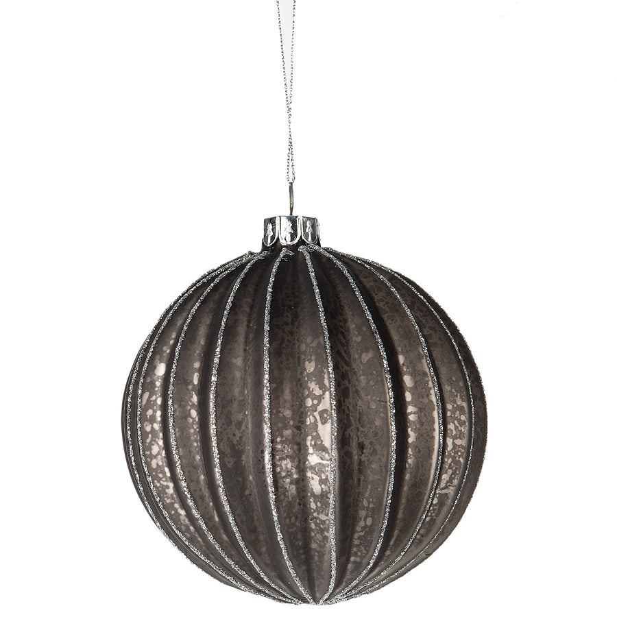 Ribbed Grey Ball Ornament