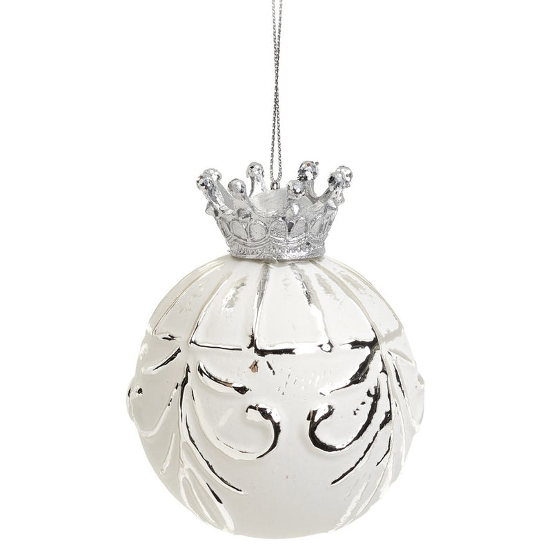 Matte White with Silver Crown Glass Ball Ornament | Putti Christmas Canada
