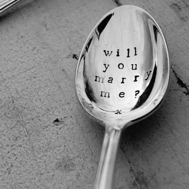 """Will you marry me?"" Vintage Desert/Cereal Spoon -  Flatware - La De Da Living - Putti Fine Furnishings Toronto Canada - 1"