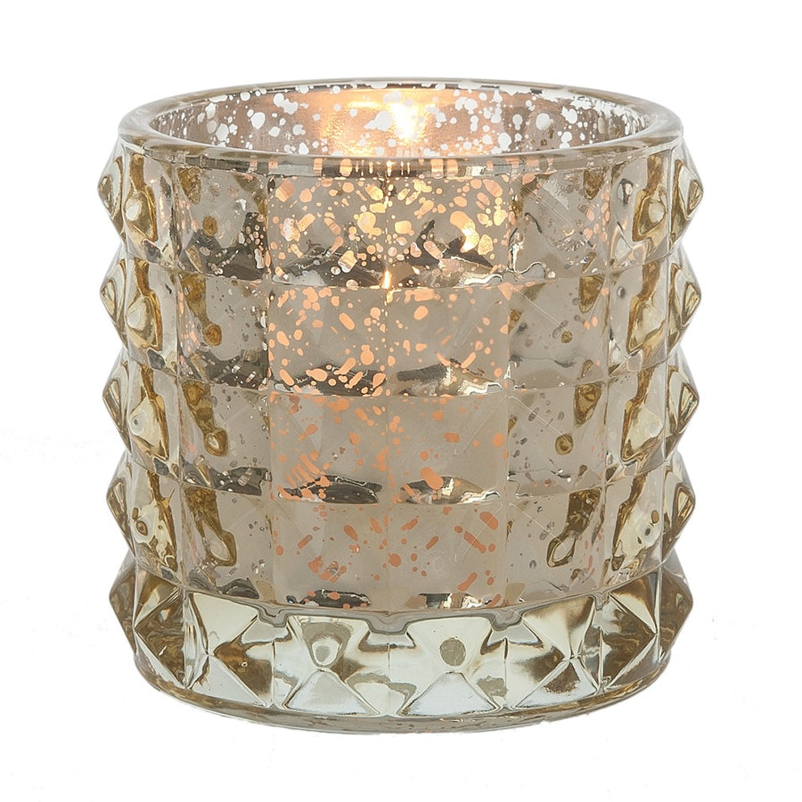 Ribbed Glass Votive Holder - Gold