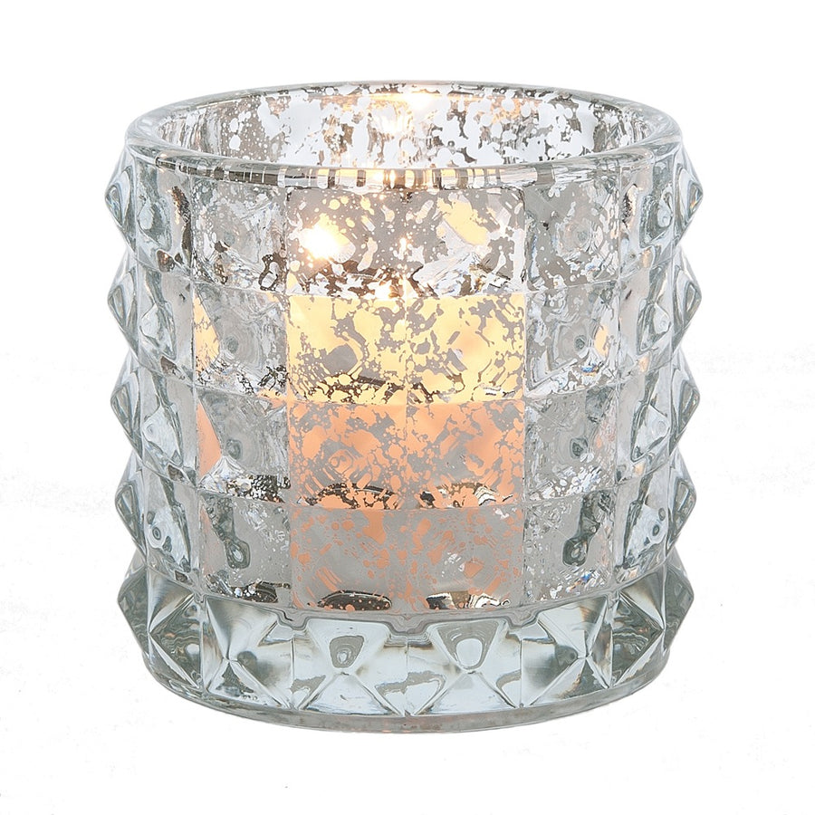Ribbed Glass Votive Holder - Silver