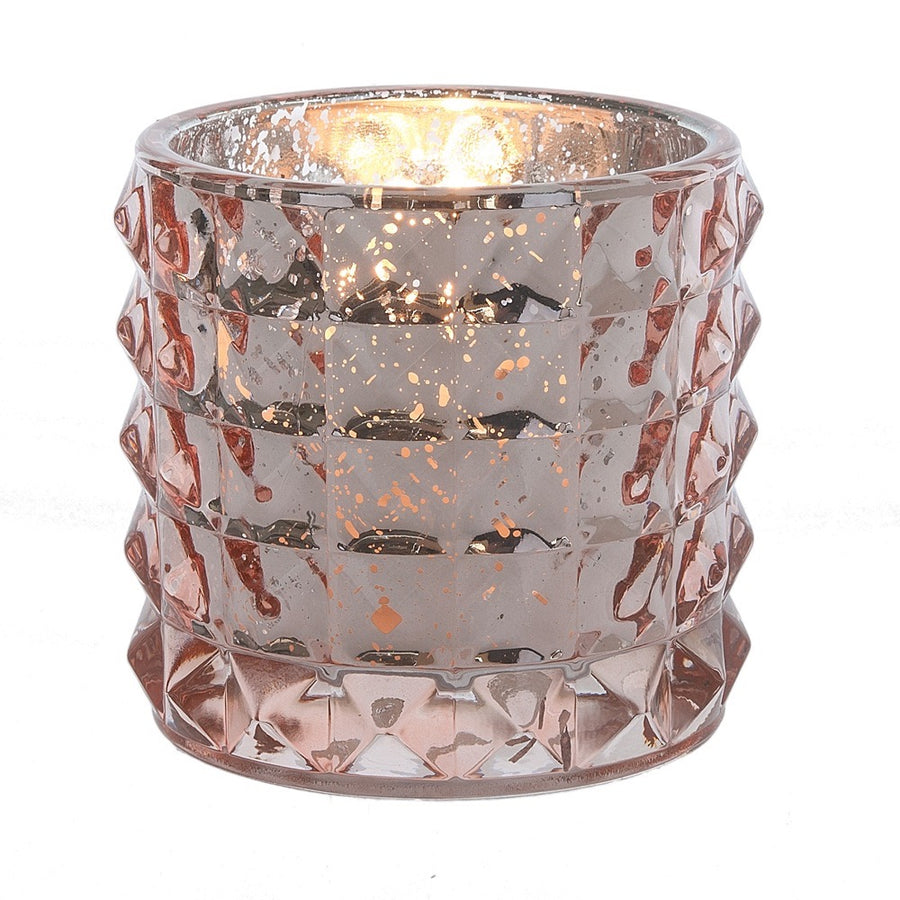 Ribbed Glass Votive Holder - Rose Gold