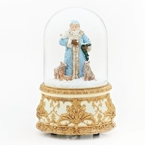 Blue Santa with Animals Musical Snow Globe