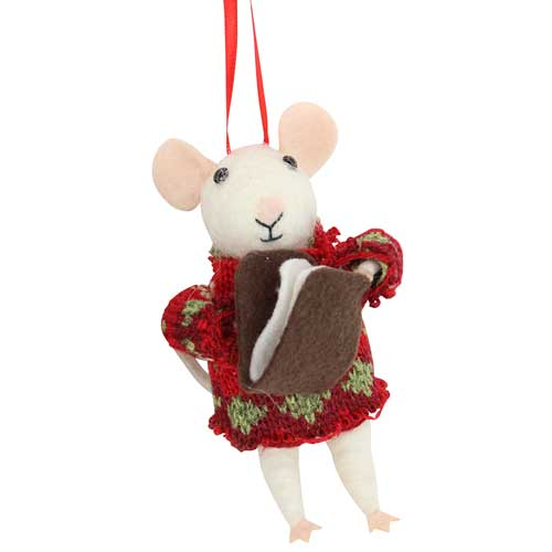 Mouse with Red Jumper Felted Ornament