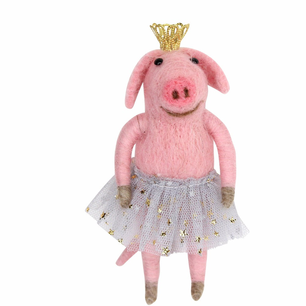 Felt Pig Ornament with Tutu | Putti Christmas