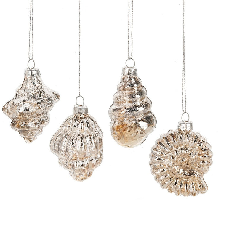 Mercury Glass Shell Ornaments, MW-Midwest / CBK, Putti Fine Furnishings