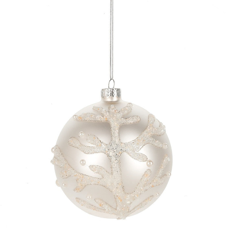 Glittered Coral and Pearl Ball Ornament, MW-Midwest / CBK, Putti Fine Furnishings