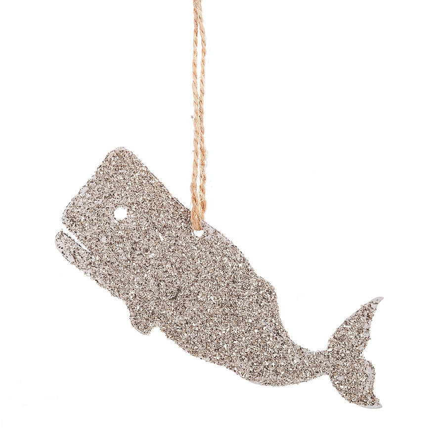 Glittered Whale Ornament
